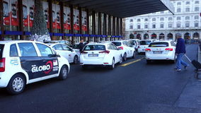 Taxis in Line in Rome Italy stock footage
