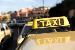 Taxis in a Moroccan town Royalty Free Stock Image