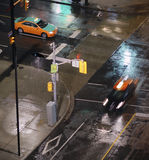 Taxis at Night in Downtown Toronto  Stock Photo