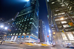 Taxis in the night in new york Stock Image