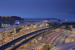 The taxis queues in the hk international airport Stock Photo