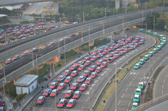 Taxis queues in the hong kong international airport Royalty Free Stock Image