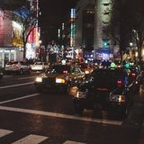 Taxis in Shibuya Japan. Taxis in Shibuya Stock Photography