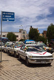 Taxis Standing in Line for Blessing in Copacabana, Bolivia Stock Photography