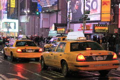 Taxis in Timesquare. Taxi cabs in Manhattan, New York Stock Images