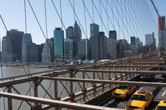 Taxis and Traffic Across Brooklyn Bridge Royalty Free Stock Image