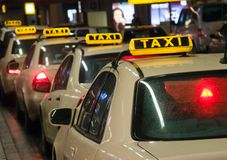 Taxis waiting at the airport Royalty Free Stock Photos