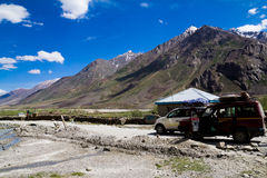 Taxis in Zanskar. Taxis resting against the magnificent Himalayan view stock photo