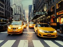 Taxis at zebra crossing in Manhattan royalty free stock photography