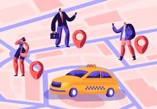 Taxiservice Chaufför i den gula taxin som väntar och att leverera passagerare med bagage till destinationen Folk som beställer ta royaltyfri illustrationer