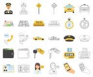 Taxiservicetecknad film, översiktssymboler i den fastställda samlingen för design Taxichauffören och transportvektorsymbolet lage royaltyfri illustrationer