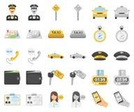 Taxiservicetecknad film, monochromsymboler i den fastställda samlingen för design Taxichauffören och transportvektorsymbolet lage stock illustrationer