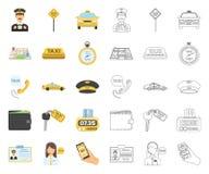 Taxiservicetecknad film, ?versiktssymboler i den fastst?llda samlingen f?r design Taxichauff?ren och transportvektorsymbolet lage vektor illustrationer