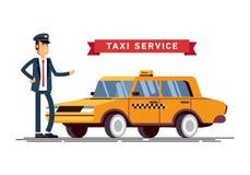 Taxista Call con el fondo del servicio del smartphone Fotografía de archivo libre de regalías