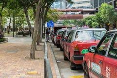 Taxistandplaats dichtbij Wanchai Star Ferry-peer, Hong Kong royalty-vrije stock afbeelding