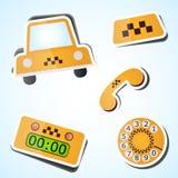 Taxisymbolsuppsättning Arkivfoto