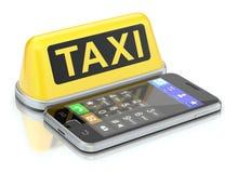 Taxitecken och mobil Arkivbild