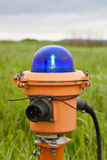 Taxiway light. Blue taxiway light in one of Russian airport Royalty Free Stock Images