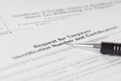 Taxpayer number request form Royalty Free Stock Photography