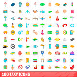 100 taxy icons set, cartoon style Royalty Free Stock Photos