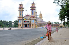 Tay Ninh temple one morning. Photo by d300s 35mm f1.8 royalty free stock images