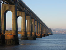 Tay Rail  Bridge and Dundee from Fife. The Tay Rail  Bridge and the city of Dundee viewed from Fife Royalty Free Stock Photography