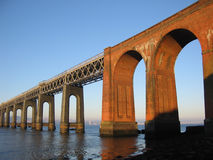 Tay Rail  Bridge and Dundee from Fife, Scotland. The Tay Rail  Bridge viewed from Fife, Scotland Royalty Free Stock Photos