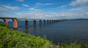 Tay Rail Bridge, Dundee. The railway bridge across the river Tay in Scotland. This view is from Wormit in Fife towards Dundee. The original bridge collapsed when Royalty Free Stock Photography