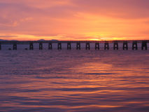Tay Rail bridge at dusk Royalty Free Stock Photography