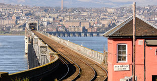 Tay Rail Bridge. A view of the Tay rail bridge taken from the south side in Fife, Scotland with a view of Dundee in the distance royalty free stock photos