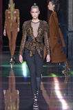 Taylor Hill walks the runway during the Balmain show Stock Images