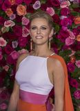 Taylor Louderman at the 2018 Tony Awards. Actress Taylor Louderman looks chic and sophisticated in an ensemble by Christiano as she arrives on the red carpet for Royalty Free Stock Photo