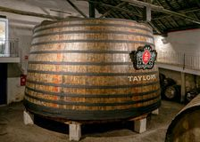 Taylor`s Port Vat, the largest in Vila Nova de Gaia, Portugal. This Taylor`s Port vat with a capacity of approximately 100,000 litres of Port is the largest vat stock image