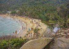 Tayrona公园Cabo圣胡安海滩鸟瞰图 免版税库存照片