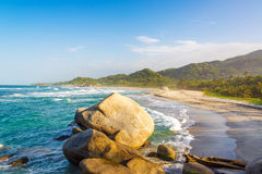 Tayrona Beach and Rocks Stock Images