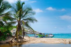 TAYRONA, COLOMBIA OCTOBER 20, 2017: Beautiful outdoor view of some boats in the water with many palms tree in Cabo San Stock Photography