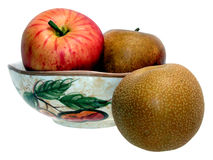 Tazón de fuente asiático de la pera y de fruta fotografía de archivo libre de regalías