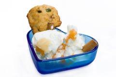 Tazón de fuente con el helado aislado en el fondo blanco Imagen de archivo libre de regalías