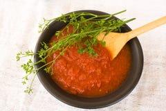 Tazón de fuente con el jugo de tomate Foto de archivo libre de regalías