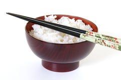 Tazón de fuente de arroz con los palillos imagenes de archivo