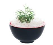 Tazón de fuente de arroz delicado adornado Foto de archivo libre de regalías