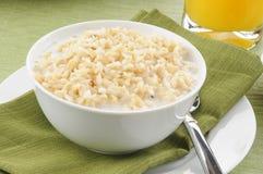 Tazón de fuente de arroz moreno con leche Imagen de archivo