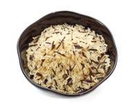 Tazón de fuente de arroz sin procesar Imágenes de archivo libres de regalías