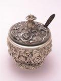 Tazón de fuente de azúcar adornado de plata 1 Imagenes de archivo