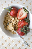 Tazón de fuente de cereal en el backgrund blanco Foto de archivo libre de regalías