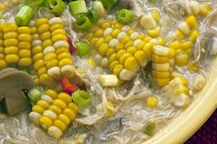 Tazón de fuente de Chowder de maíz del pollo fotos de archivo