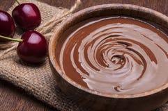 Tazón de fuente de crema del chocolate Fotografía de archivo
