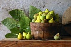 Tazón de fuente de higos verdes Foto de archivo libre de regalías