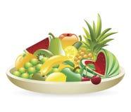 Tazón de fuente de la ilustración de la fruta Fotos de archivo