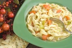 Tazón de fuente de sopa de tallarines hecha en casa caliente del pollo Fotografía de archivo libre de regalías